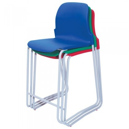 Polypropylene high stool with back in various heights and colours
