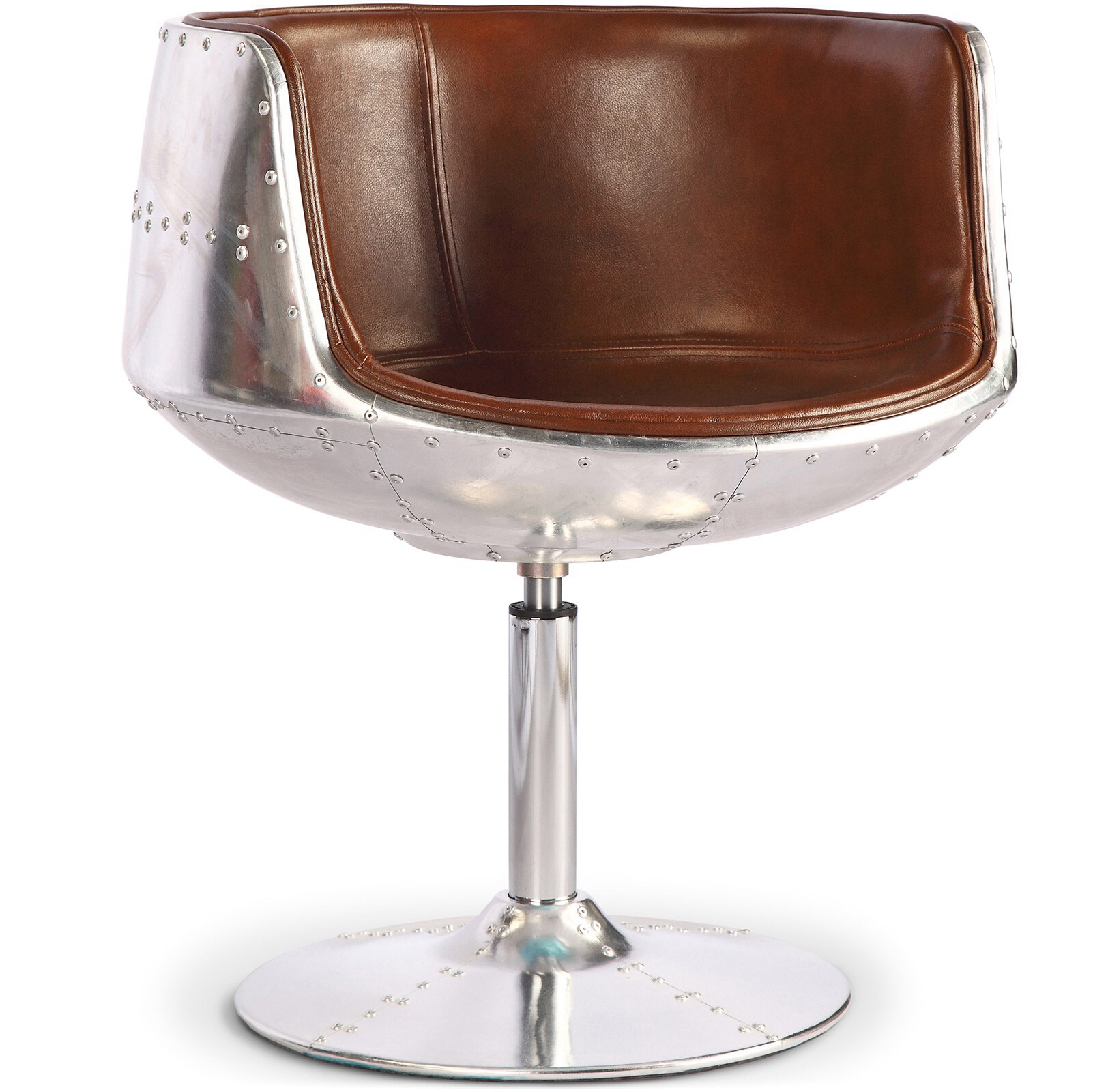 Aeronautical Brandy Glass Chair Brown Aged  Leather style