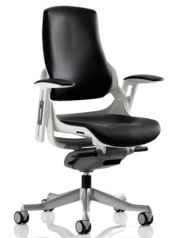 Black leather Zephyr Executive orthopaedic chair with heavy duty castors