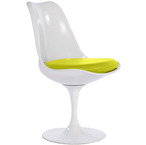 Excellent Contemporary White Fibreglass Petal Chair Yellow Faux Leather Seat Pad Gmtry Best Dining Table And Chair Ideas Images Gmtryco