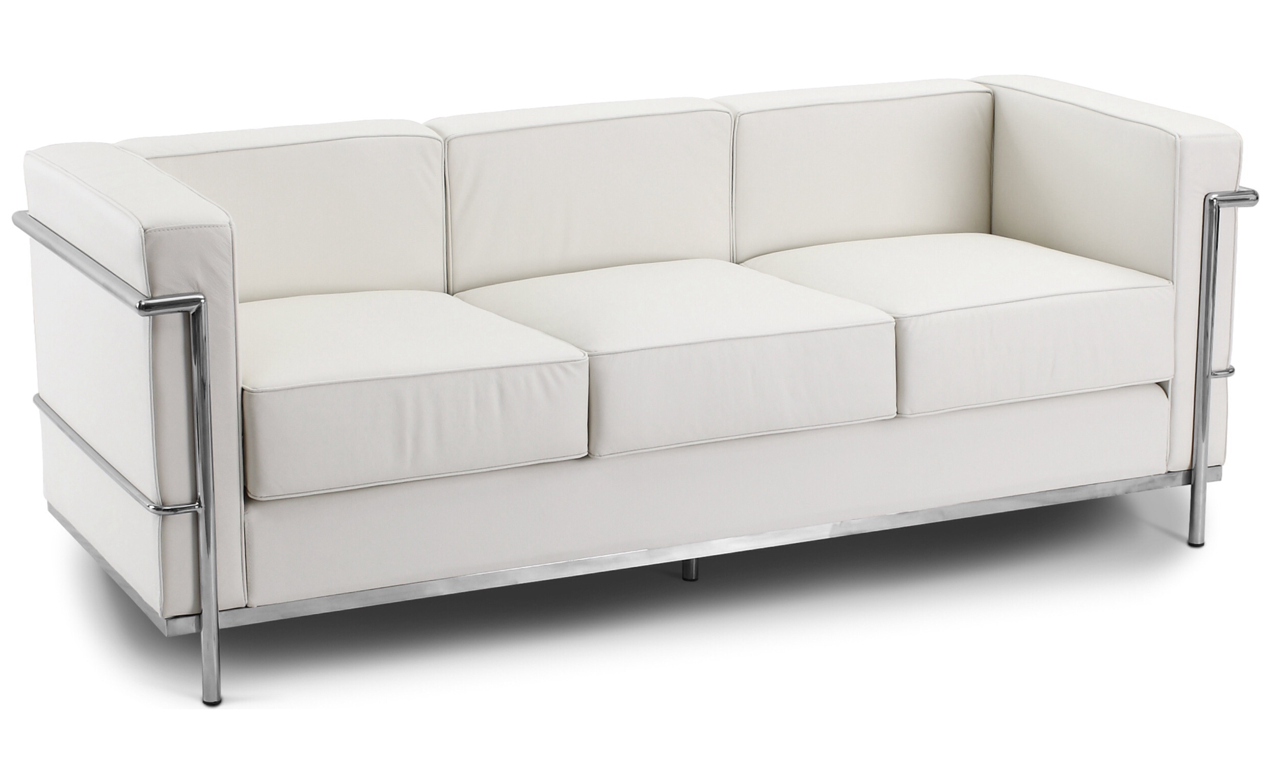 Corbusier 3 Seater Sofa Faux Leather White 1960 Wide ...