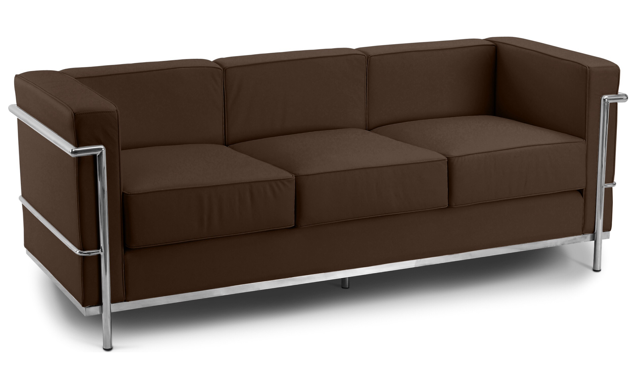 Corbusier 3 Seater Sofa Faux Leather Brown 1960 Wide