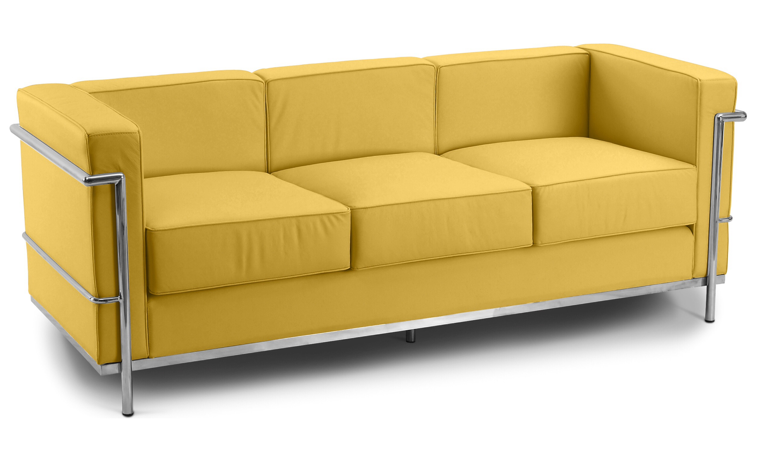Corbusier 3 Seater Sofa Faux Leather Yellow 1960 Wide Specialist Furniture Contracts