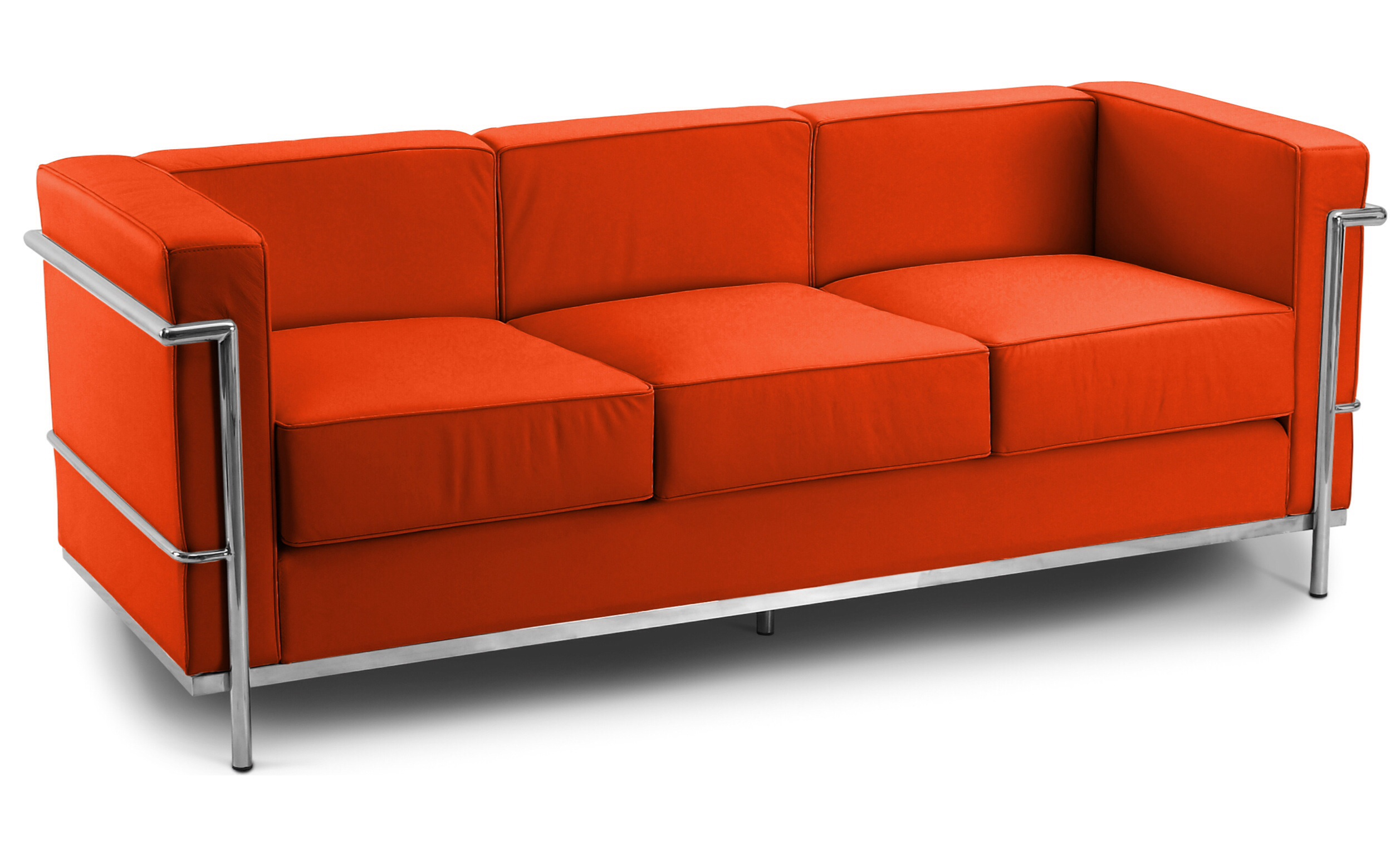 Corbusier 3 Seater Sofa Faux Leather Orange 1960 Wide Specialist Furniture Contracts