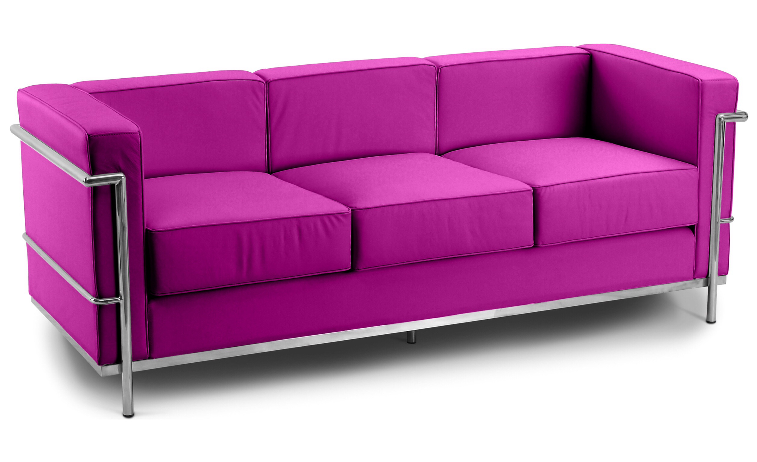 Corbusier 3 Seater Sofa Faux Leather Fuschia1960 Wide
