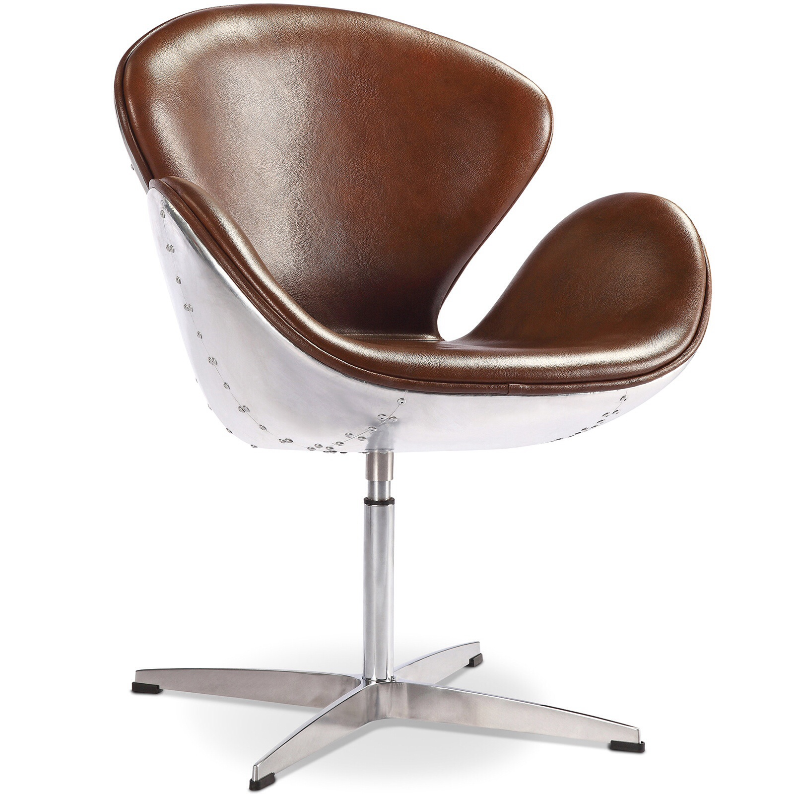 Aeronautical Swivel Petal Chair Brown Aged  Leather style