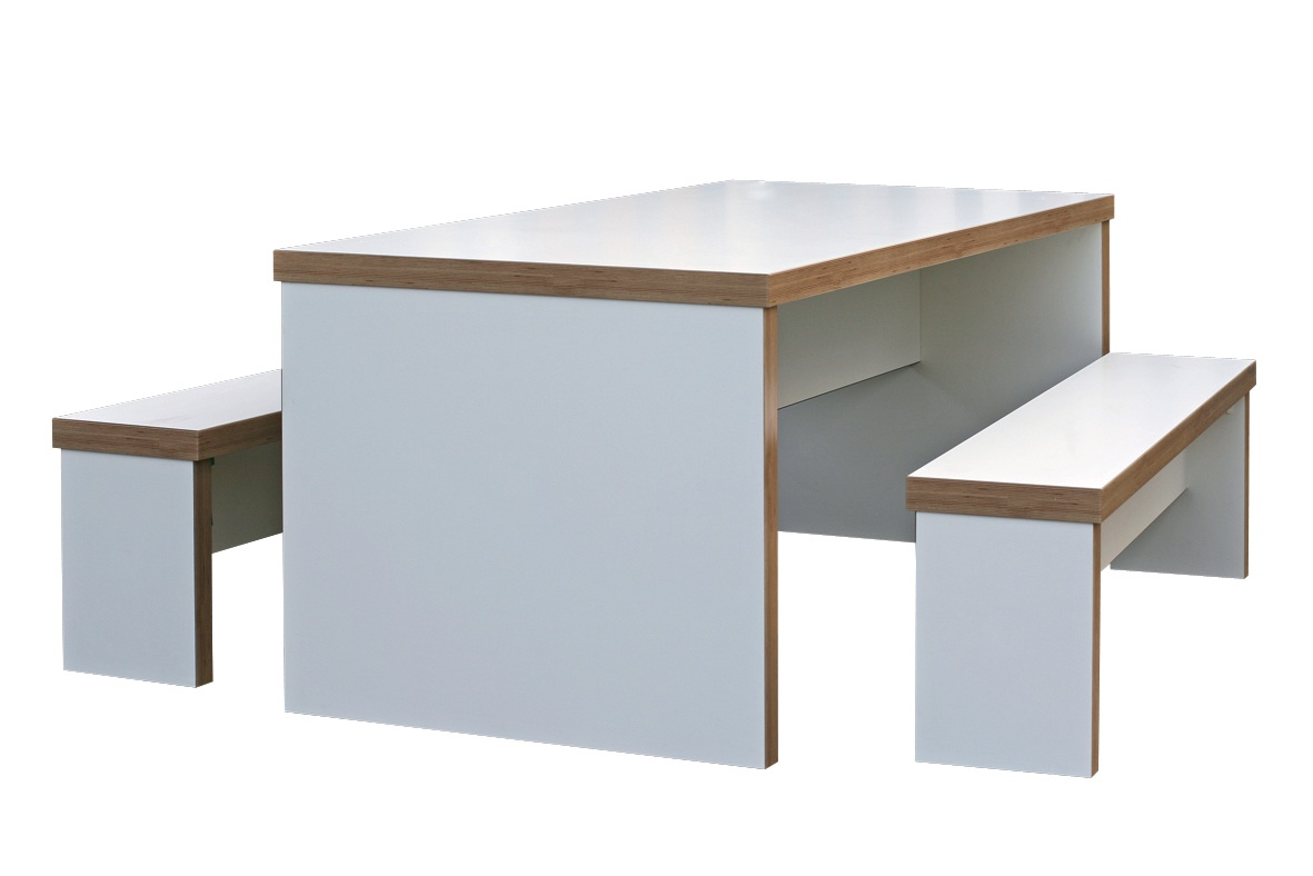 Canteen Bench Dining Table Set With Seats Various Finishes And Sizes 40 Mm Thick Tops Panel Base