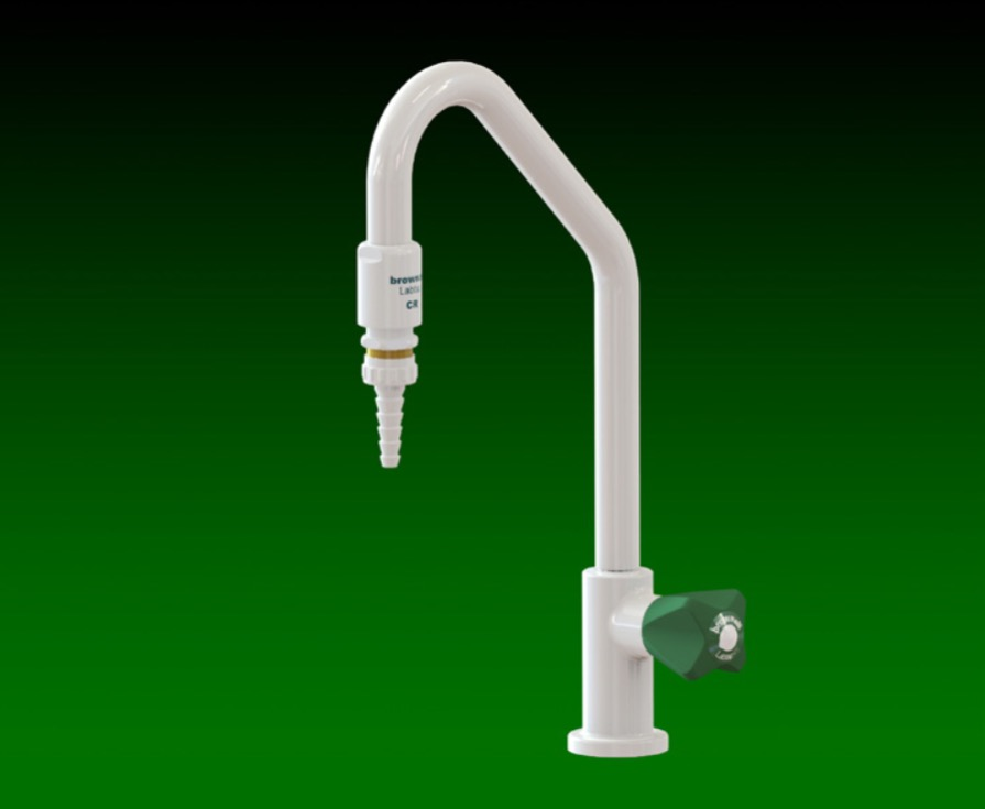 Laboratory fixed neck hot /cold water tap with pipe interruptor