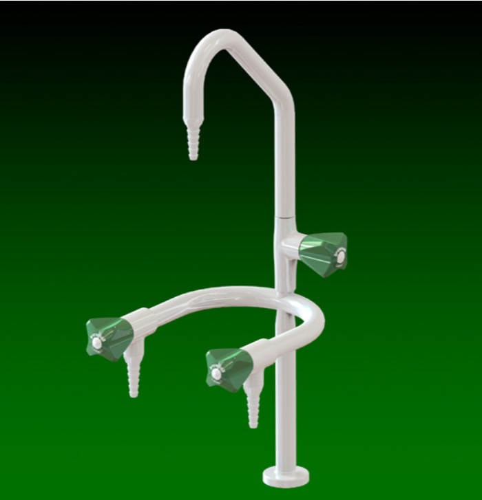 Laboratory swivel swan neck hot /cold water tap with side arms