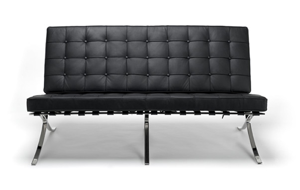 Barcelona low reception sofa black leather facing