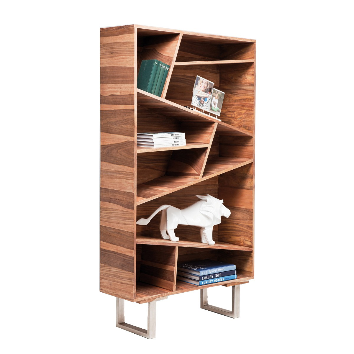 Designer bookcase with sloping shelves  1820 h X 420 d X 1000 w