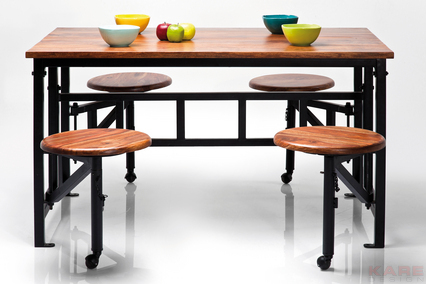 Designer Dining Table with 4 fold out stools 1400x900x760h wood