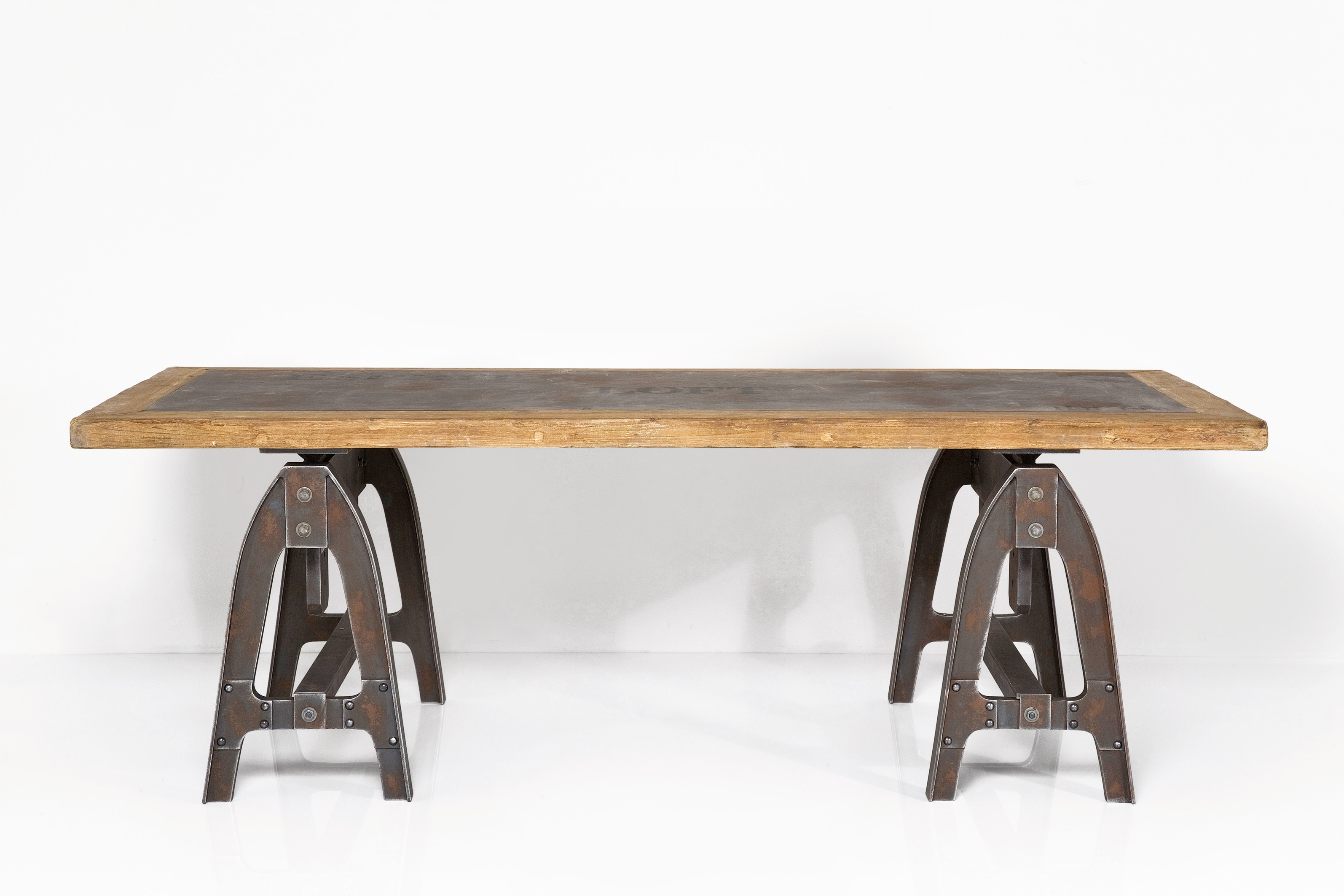 Rustic wood designer table 1700x900 with iron frame legs for Wood table iron legs