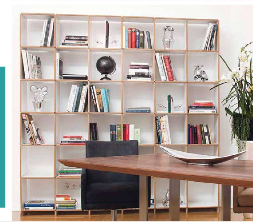 Designer 36 compartment wooden bookcase storage wall mdf edge white melamine side panels and shelves