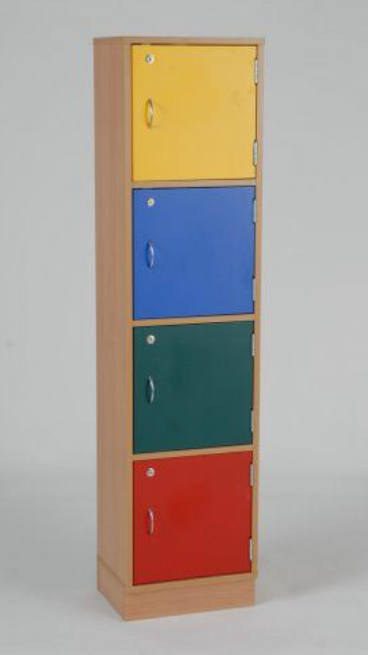Wooden locker 4 door beech 1695h x 415d x 300d coloured for Wood lockers with doors