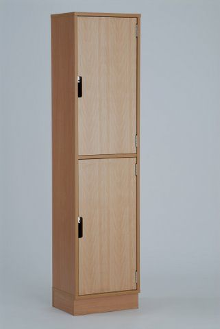 Wooden locker 2 door storage beech melamine doors 1640h x for Wood lockers with doors
