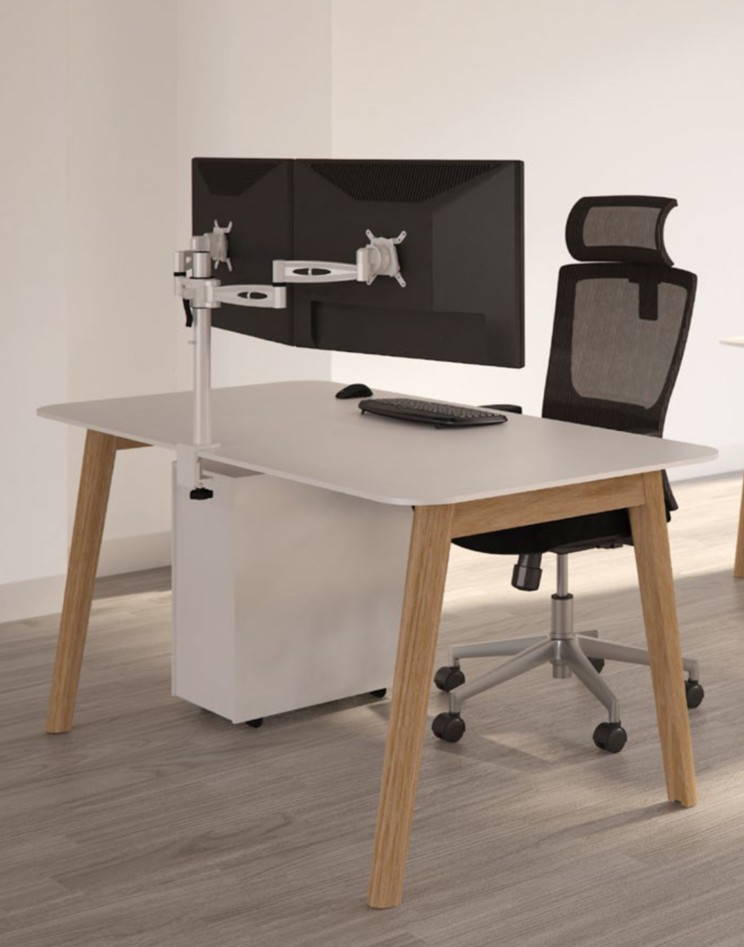 A Frame Rectangular Wooden Leg Desk With White Top Wood Edge Various Widths And Depths Furniture And Refurbishment