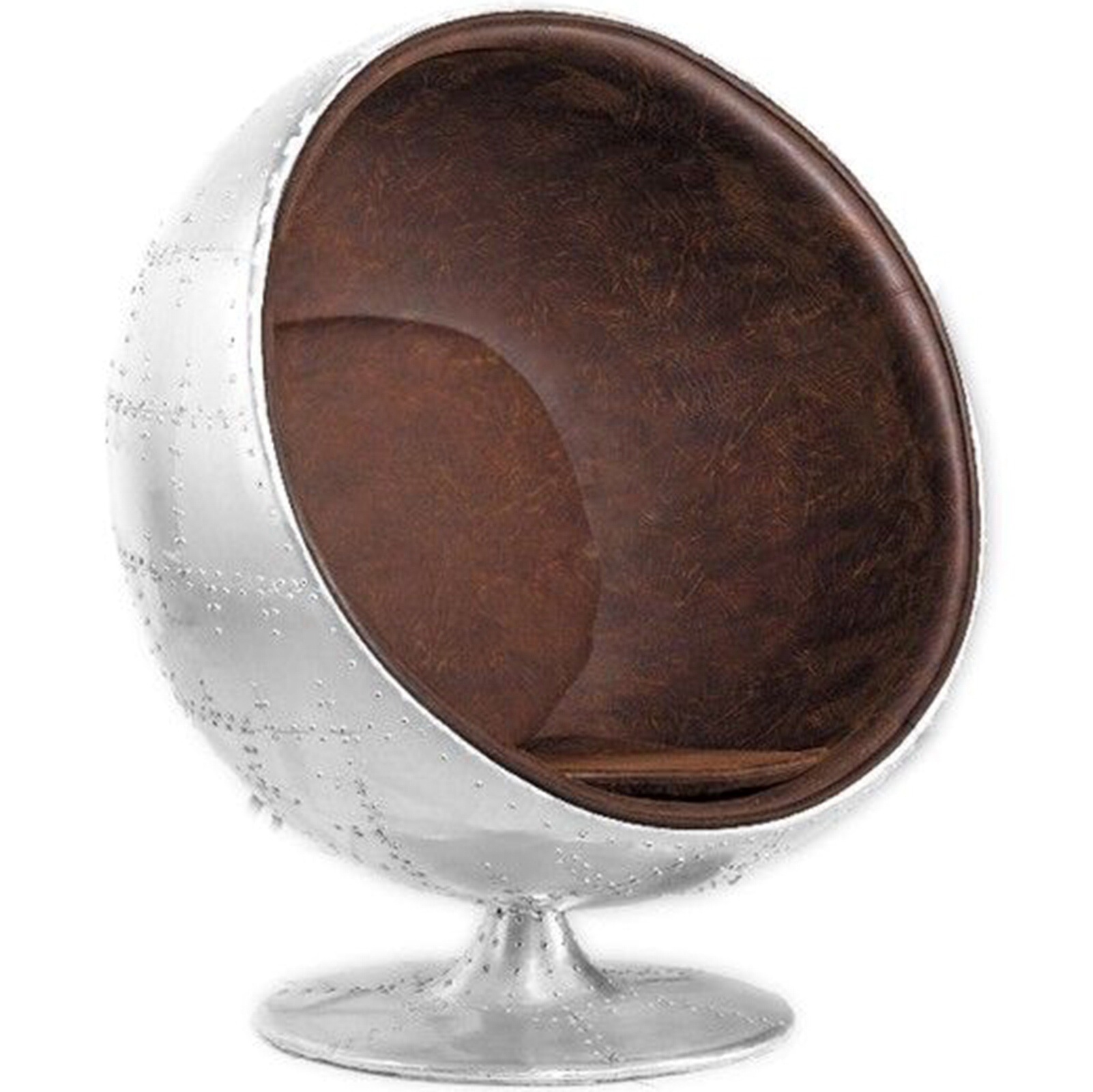 Aeronautical Ball Chair Brown Aged  Leather style