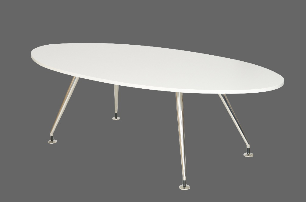 Aluminium Base Oval Designer Table White Top 2400x1200