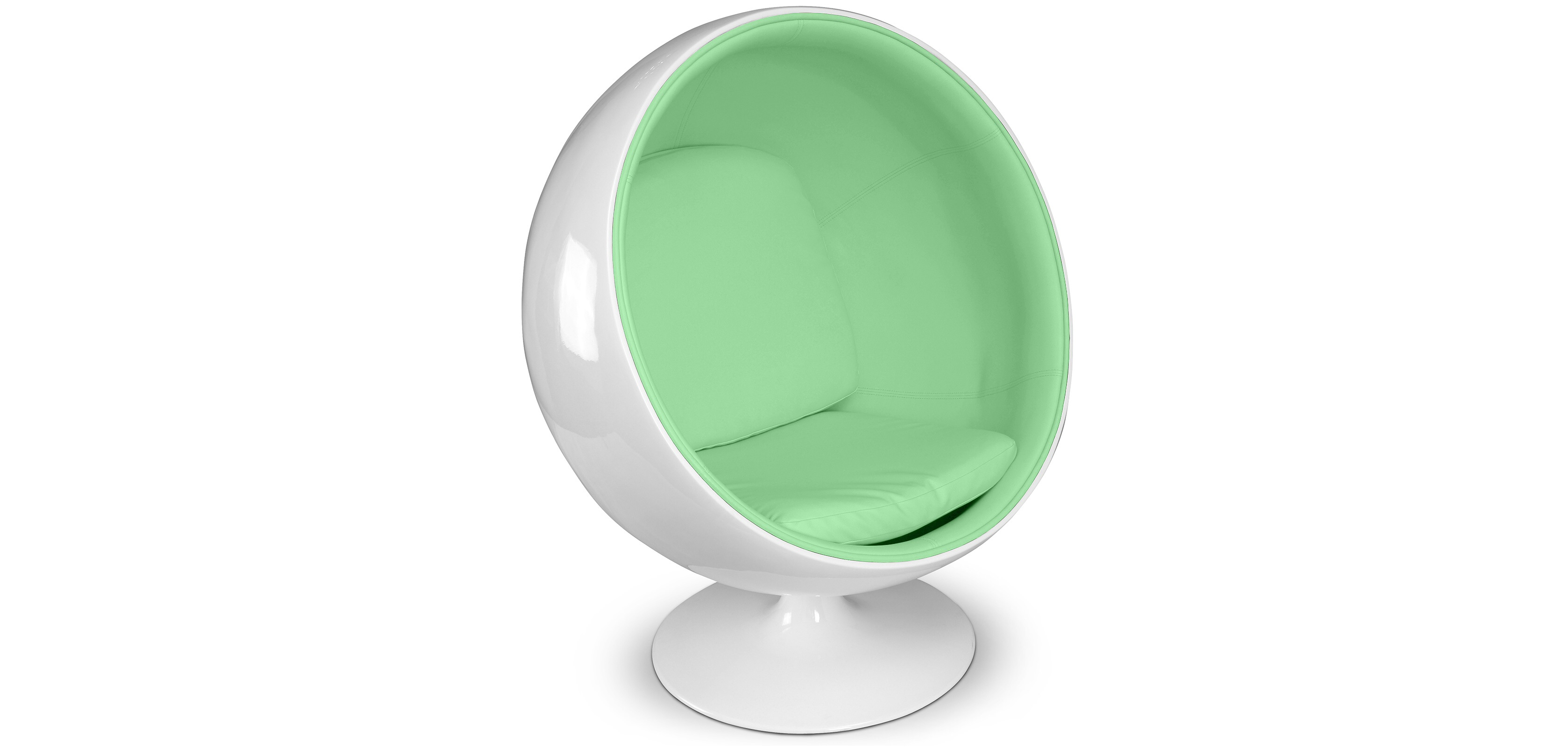 Ball chair with white shell and faux leather in many colours