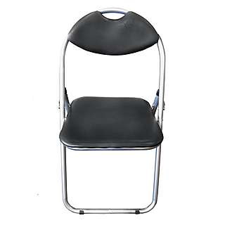 Black soft PVC  folding chair with silver steel  frame