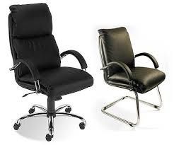 Black leather Nadir  Executive visitors  chair with Chrome frame
