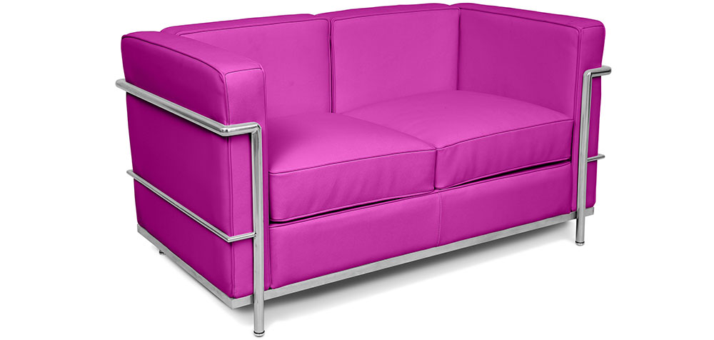 Bright coloured Corbusier style 2 seater LC2 faux