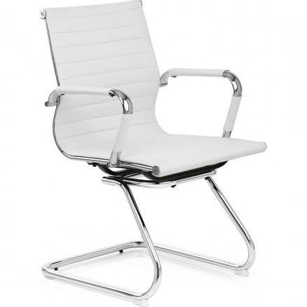 Budget Office Designer Swivel Chair White Faux Leather High Back