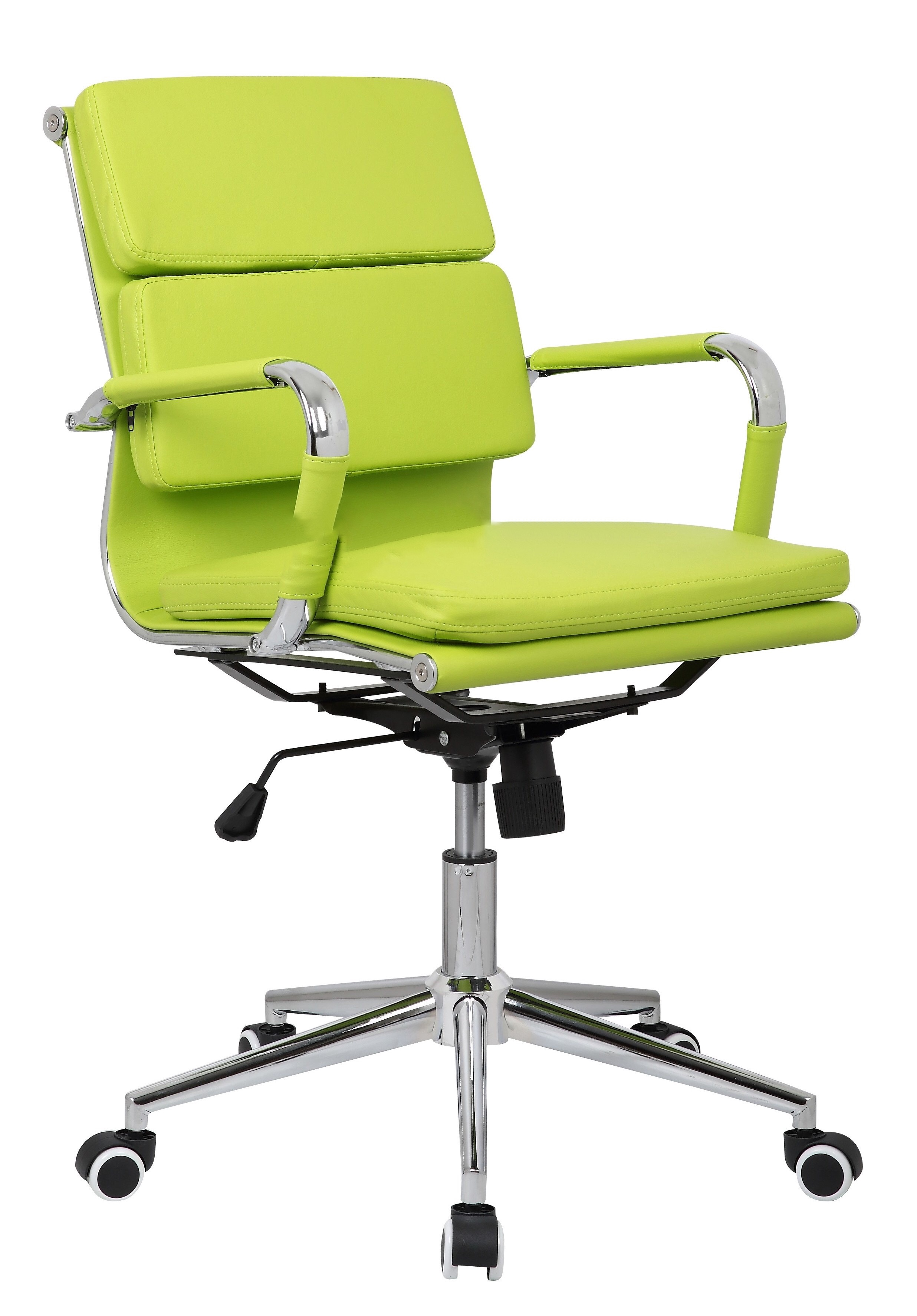 Budget Eames Style Soft Pad Designer Bonded Leather Executive Office Chair  Lime Green