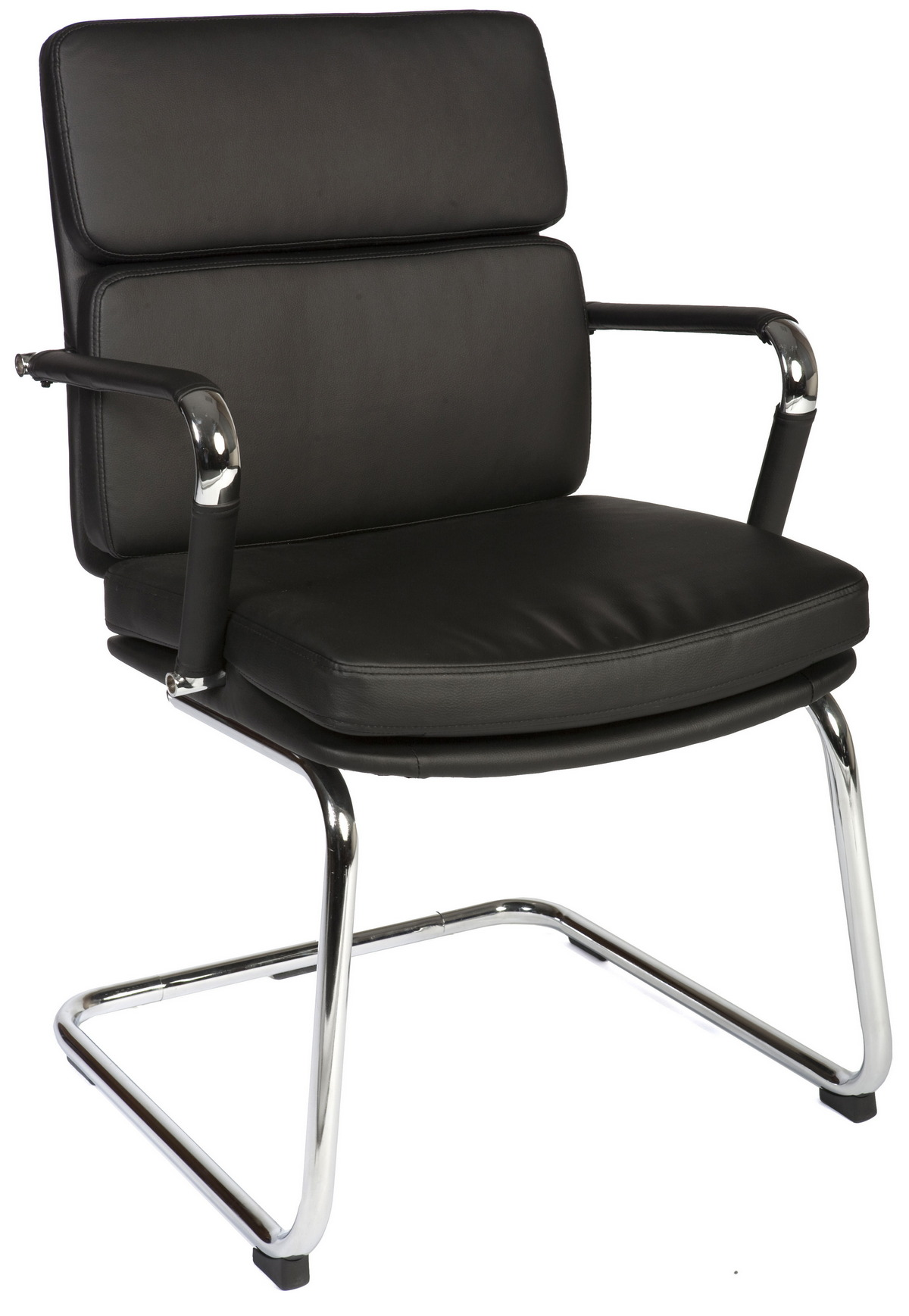 Budget Eames style padded faux leather cantilever chair Black