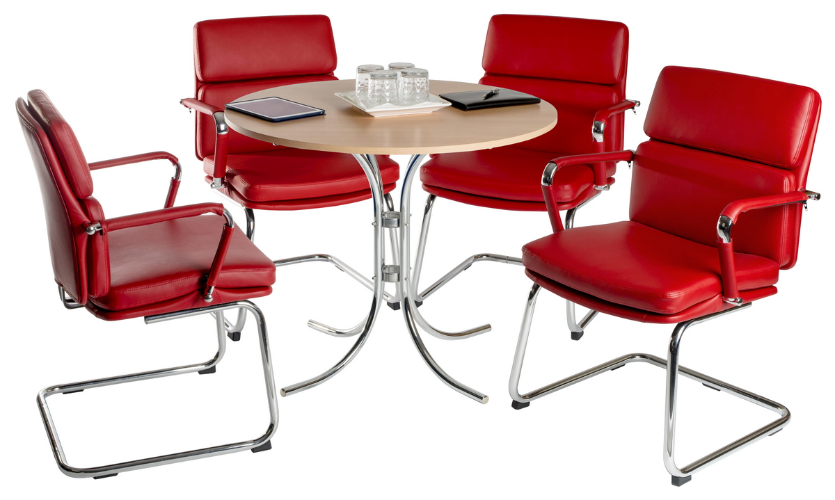 Budget Eames style padded faux leather cantilever chair red