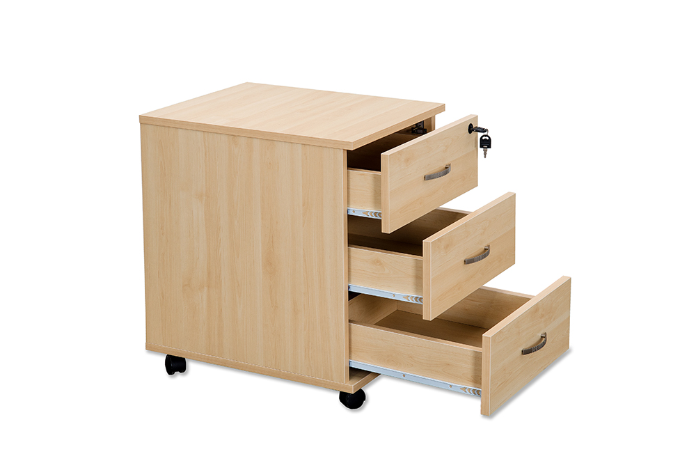 Budget maple mobile pedestal 3 drawer specialist Budget furniture