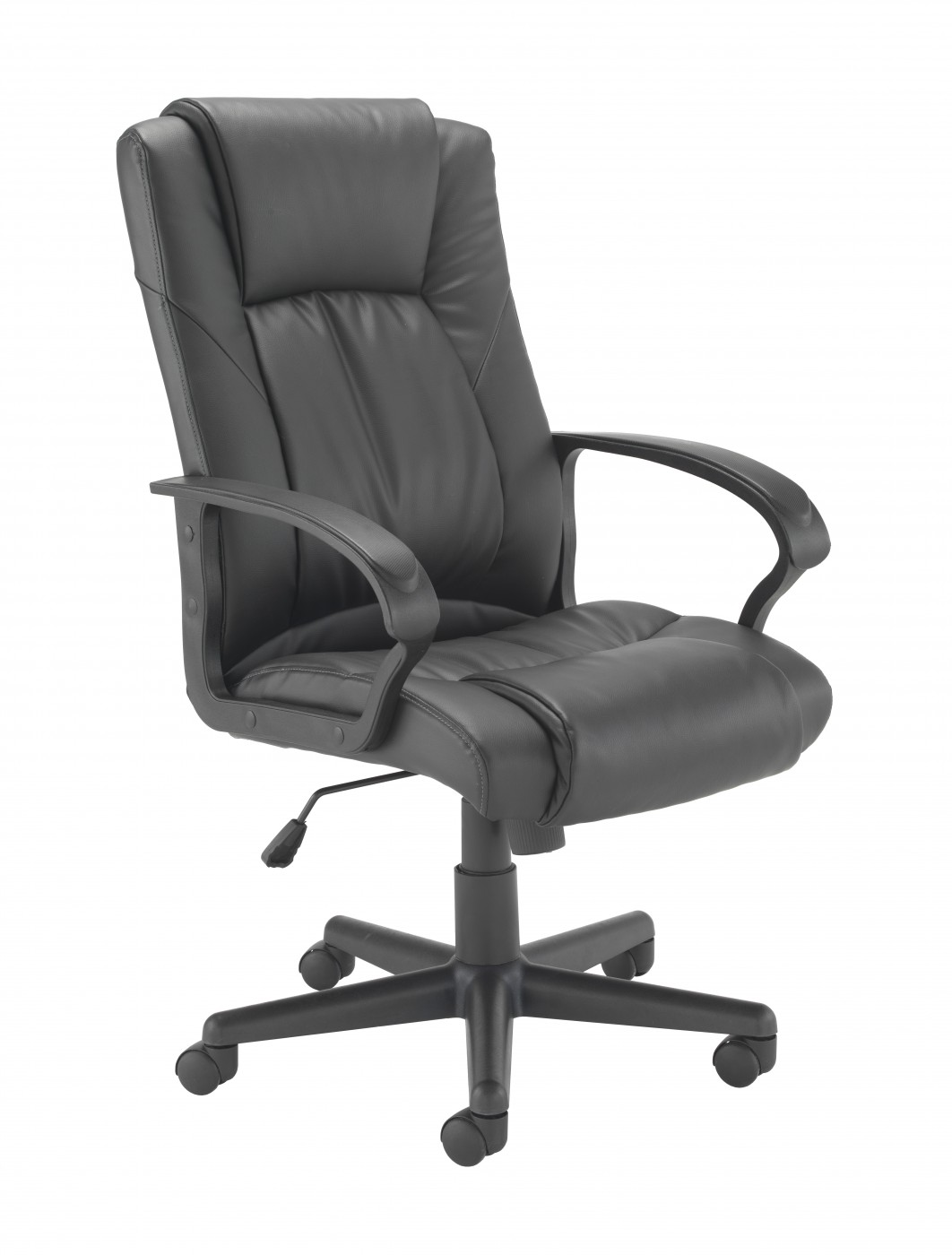 Black Leather Executive Orthopaedic Chair With Headrest And Heavy Duty Cast