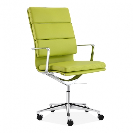 Charles Eames style Office  Padded Faux  Leather Mastermind High Back Chair Apple Green