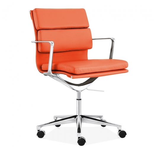 Charles Eames Style Office Padded Faux Leather Mastermind Chair Orange Furniture And Refurbishment