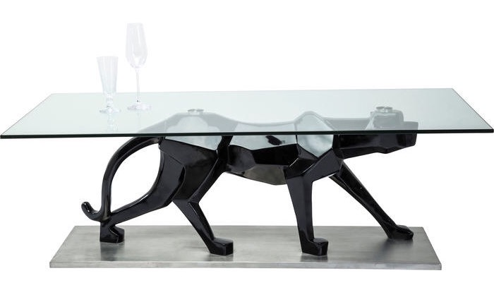 designer panther coffee table fibreglass and glass 1400x700x480