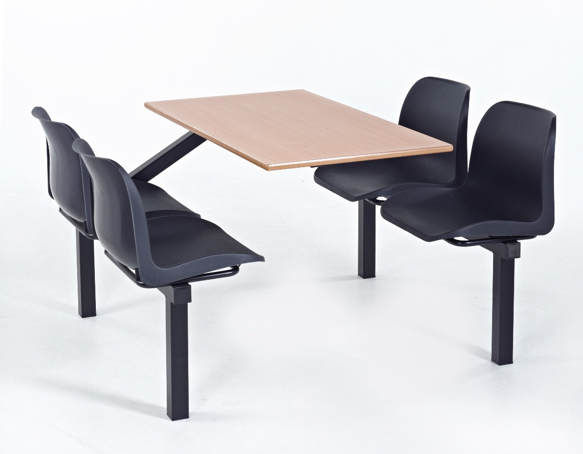 Economy Fast Food 4 Seater And Table Eating Unit Black Or