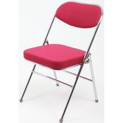 ... Folding Chair   Red Fabric And Silver Frame