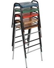 Hille flat top stool MDF colour stained