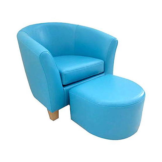 Kids Blue Faux Leather Tub Chair and Stool | Specialist Furniture ...
