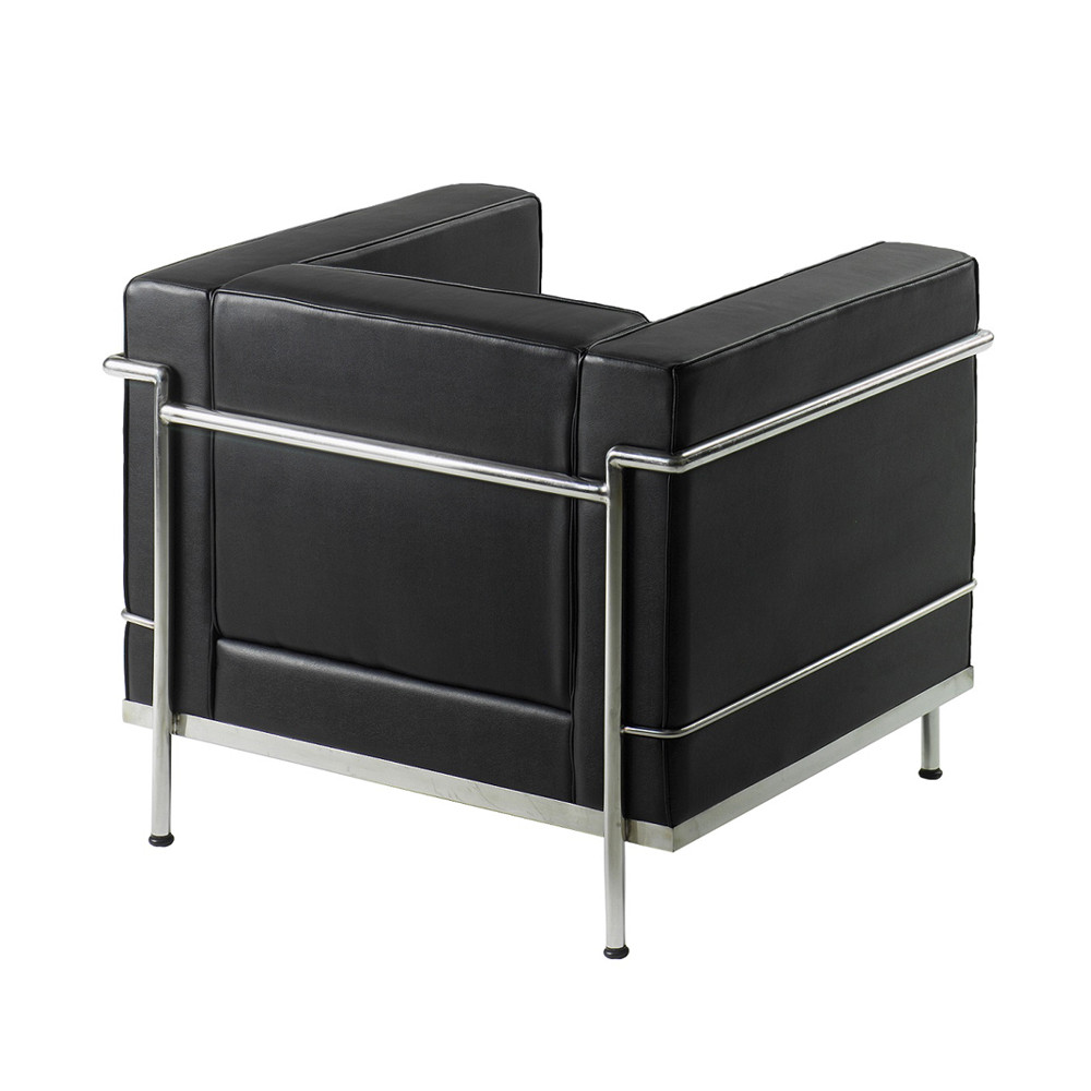 le corbusier style armchair black faced leather and chrome. Black Bedroom Furniture Sets. Home Design Ideas