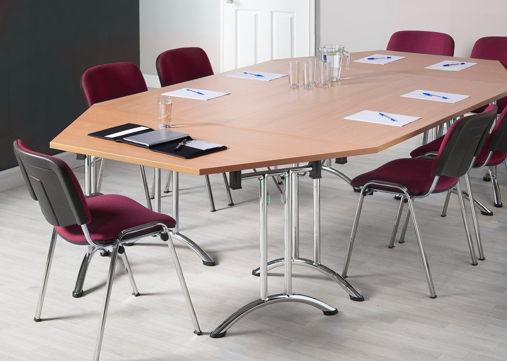 Next Day Delivery Versa Flexi Chrome Folding Leg Table Deep - Semi circle conference table