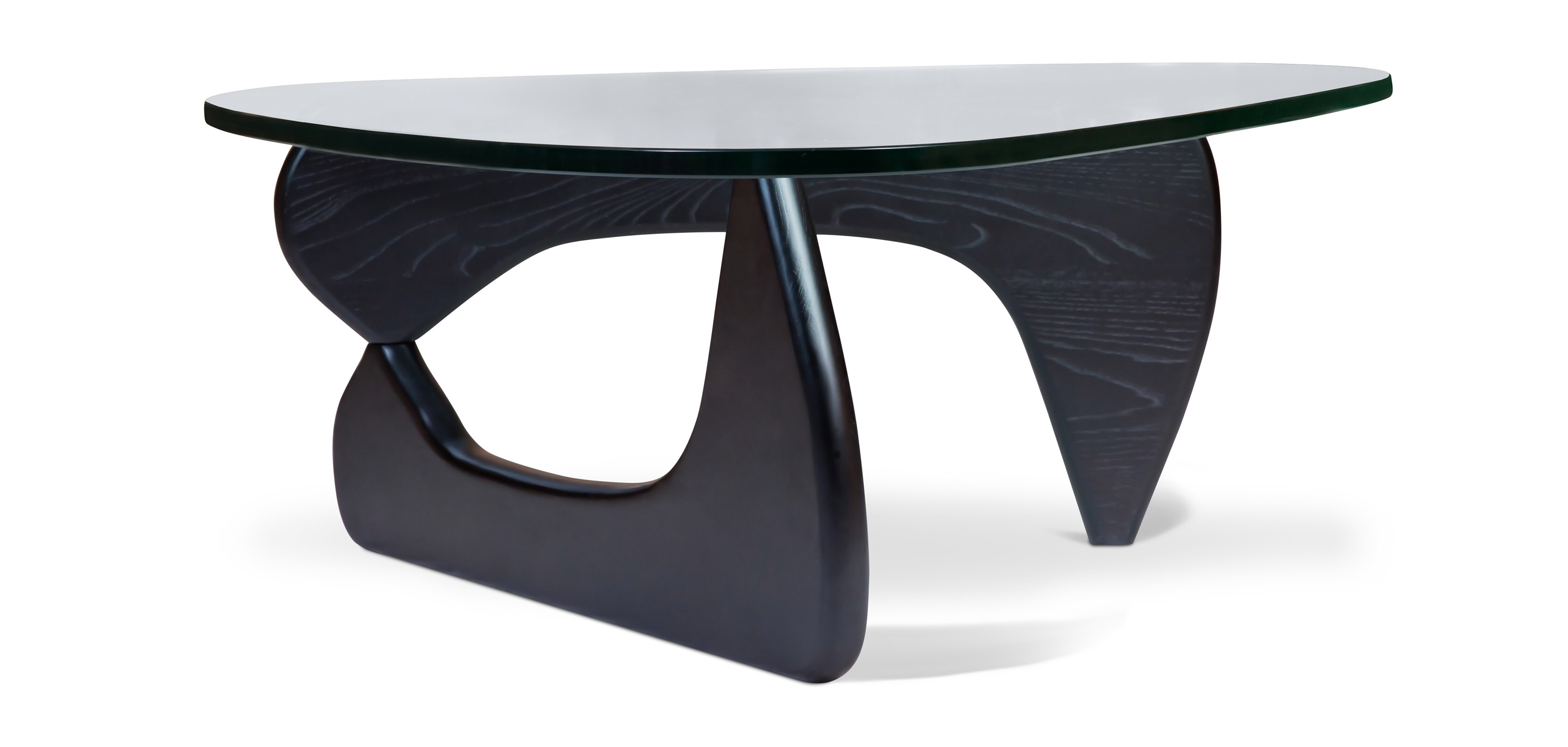 Noguchi Style Coffee Table 19mm Glass Top With Walnut Oak Or Black Base Specialist Furniture