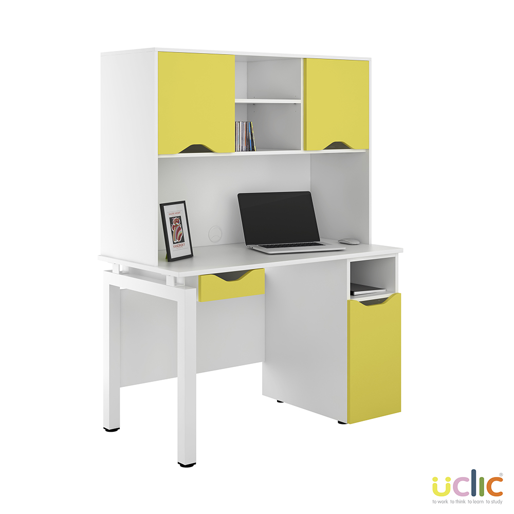 Yellow White Bench Desk 1200mm Drawer Door Base 2 Door Upper Storage Specialist Furniture