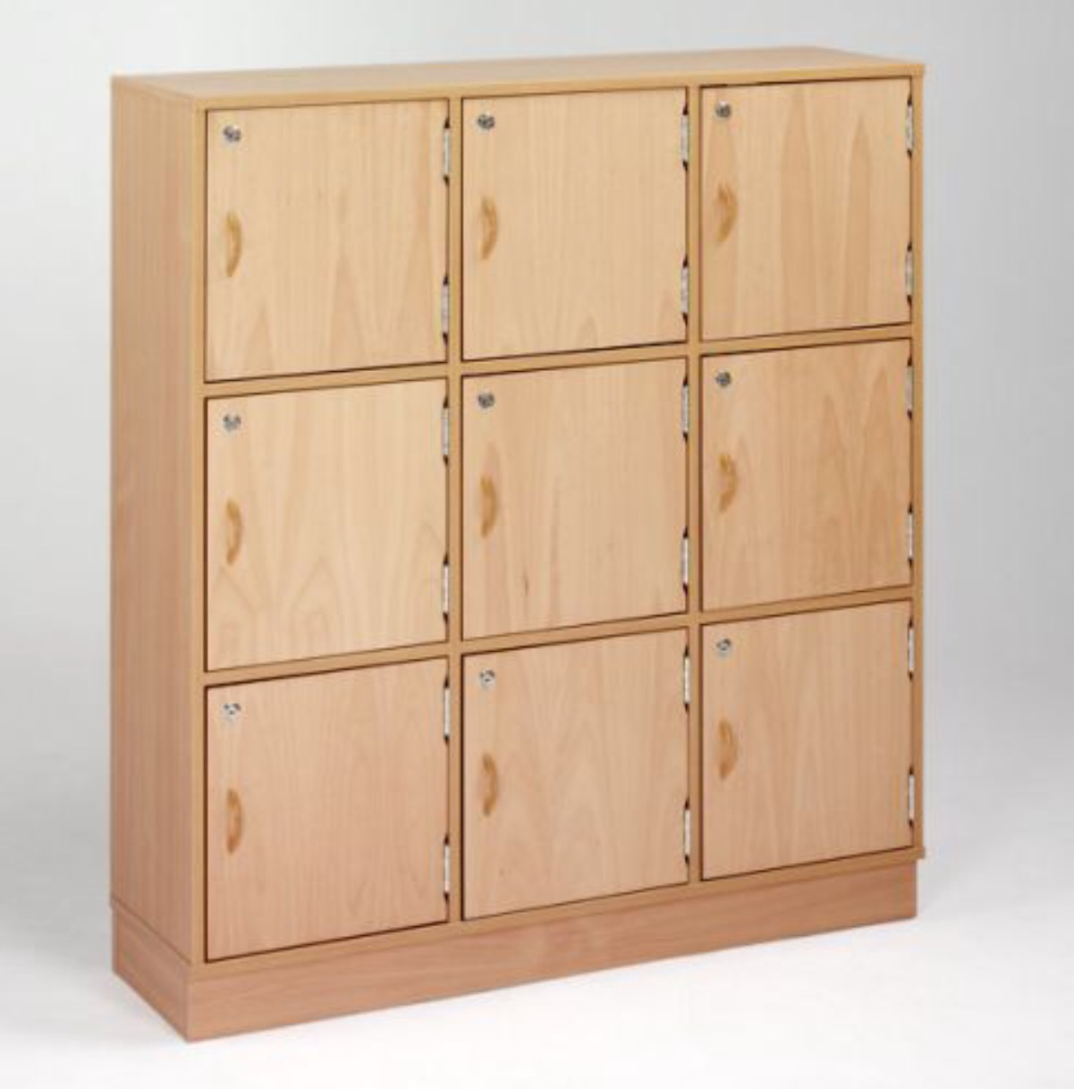 Wooden locker 9 door beech 1295h x 1165w x 300d for Wood lockers with doors