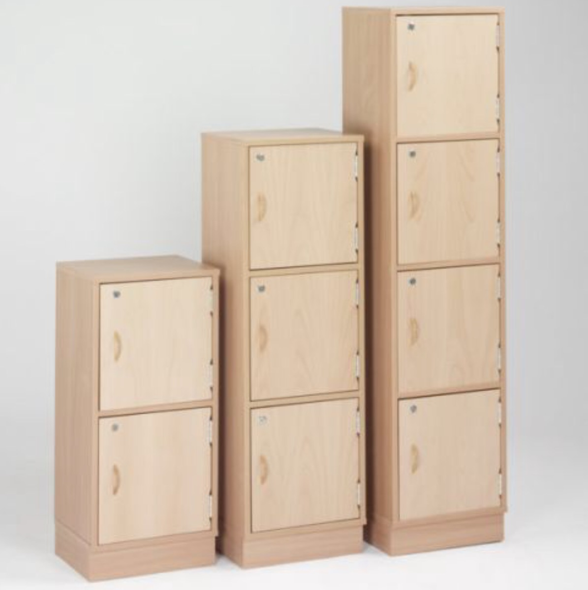 Wooden locker 9 door beech 1295h x 1165w x 300d coloured for Wood lockers with doors