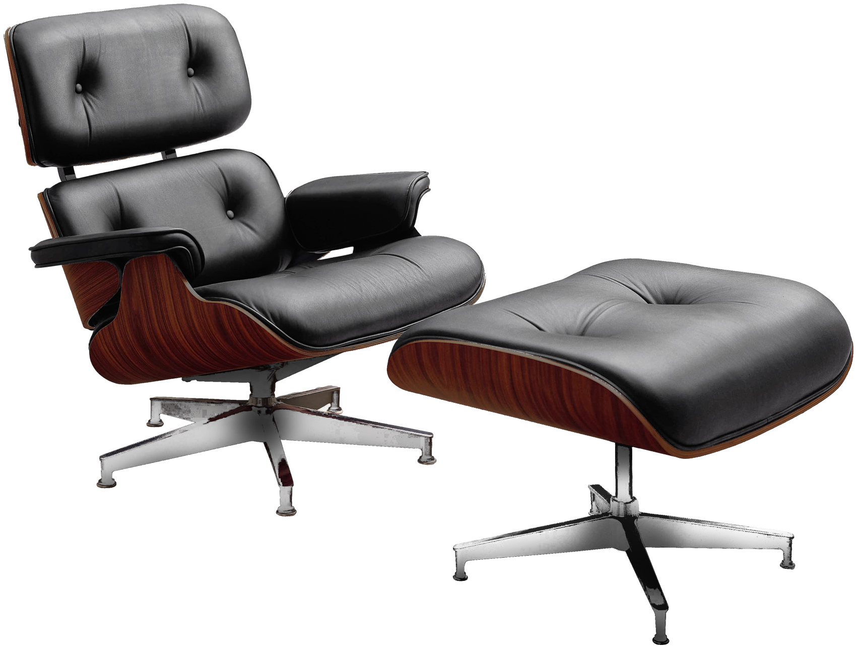 charles eames style medium back ribbed office boardroom chair in faux black leather. Black Bedroom Furniture Sets. Home Design Ideas