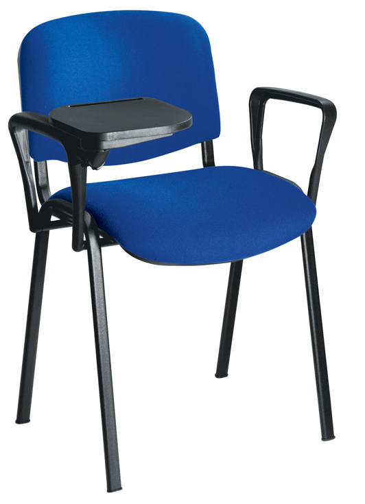 classroom chair with arms and writing tablet royal blue specialist